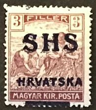 Yugoslavia #2L7 MLH 1918 Wheat Harvester SHS Hrvatska Overprint