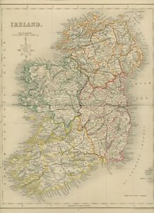 MAP 1850 IRELAND 35 cm x 27,5 cm - wonderful rare almost 175 years old engraved