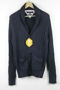 TOMMY HILFIGER Mens Cardigan ATHLETIC GRANNY KNITTED Sweater Buttons Medium P102