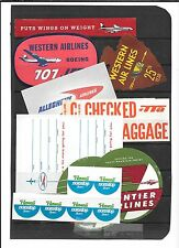 AIRLINE COMPANY LABELS-Allegheny,Western Airlines,Hawaii, TTA,+free Frontier(fau