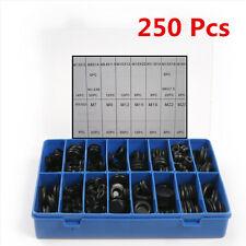 250 Pcs Black Rubber Grommet Firewall Wiring Cable Gasket Assortment Case Set