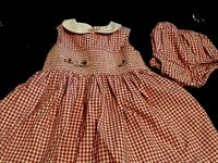 Smocked Dress Red Check Vintage Poodle Toddler Baby Gap 18 To 24 Month