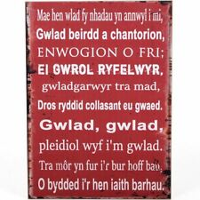 Shabby Chic Wooden Wall Plaque - Sign Welsh National Anthem Wales Rugby