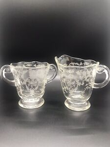 Vintage Clear Glass Cream And Sugar With White Flower Pattern Beautiful