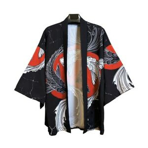 Men Japanese Kimono Jacket Fish Print Cardigan Baggy Yukata Bathrobe Outwear Top
