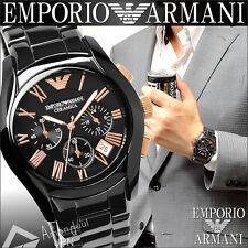 100% New Authentic Emporio Armani Mens Black Rose Gold Ceramic Watch AR1410