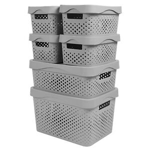 Plastic Storage Container Box Basket Bin Hollow-Out for Home Office Pack of 6