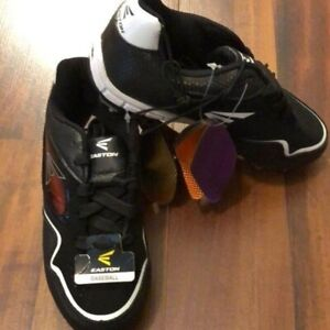 NEW Easton CX-2 Low Kids' Baseball Cleats, Size 1 (Little Boy), Black and White