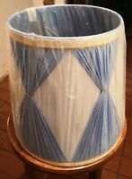 Vintage Mid Century Pinched Pleated Lamp Shade Hollywood Regency Blue White Gold