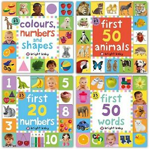 Bright Baby Lift-the-Flap Tab Books Bundle Collection Set Words, Numbers, Shapes