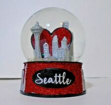 Seattle Skyline Snow Globe Water Globe Glass Red Heart Love Souvenir Gift 3.5""