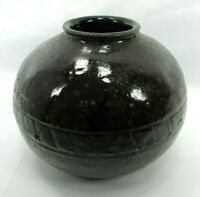 Studio Pottery Incised Signed Gordon Fairley 71 Stoneware Chocolate Brown Vase