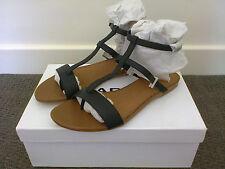 Marcs Leather Strappy Sandals Black Size 38 BNIB