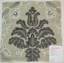 """Scalamandre ISABELLA EMBROIDERY Fabric Remnant Linen 16.5 x 17"""" Sample Graphite"""