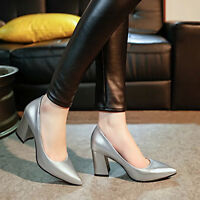 Women's Cuban High Heel Pointed Toe Pumps Slip On Solid Party Fashion Shoes