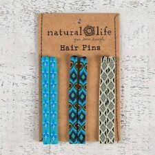 NATURAL LIFE TRENDY HAIR PINS SET OF THREE BLUE HAIR ACCESSORIES BOBBY PINS