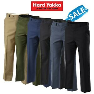 SALE Hard Yakka Trousers Permanent Press Pants Flat Front Work Teflon Job Y02594