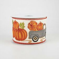 "Vintage-Style Pumpkin Truck Ribbon 2.5"" x 10 yards"