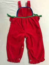 Vintage Red Baby Togs 12 Mo Girl Corduroy Overall Romper Green Holiday