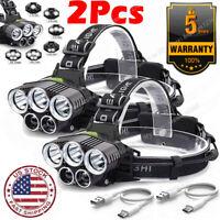 2X 350000LM 5X LED  Rechargeable Headlamp Headlight Flashlight Head Torch USA