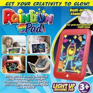 Magic Glow Light Drawing Board Kids Creative Educational Reusable Markers AU