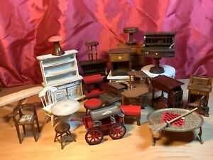 Vintage 1:12 dollhouse miniatures  furniture lot wood marble metal