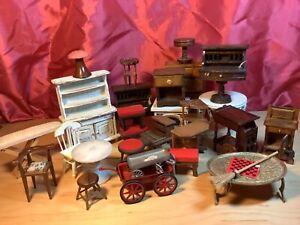 Vintage 1:12 dollhouse miniatures  furniture lot wood marble metal