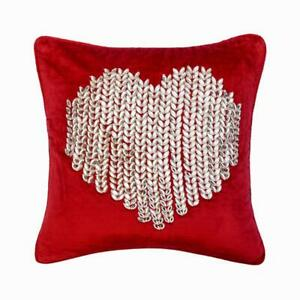Luxury 16x16 inch Crystal & Heart Red Velvet Pillows For Couch - Valentine Love