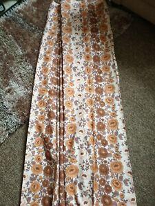 "Vintage 60's  70's Curtains Brown & Orange Floral Mid-Century Retro W60"" L 62"""