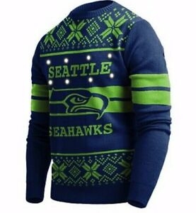 SEATTLE SEAHAWKS OFFICIAL NFL Big Logo Ugly Light-up Christmas Sweater, 2XL