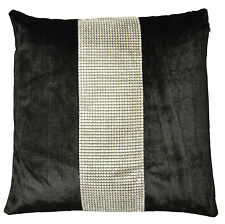 Black cushion cover with silver demonte band 43x43cm