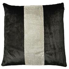Housse de coussin noir avec bande argent demonte 43x43cm