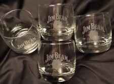 Set of 4 Jim Beam Heavy Based Rocks - Drink Glasses...Grey Lettering...NEW