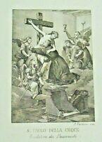 SAN PAOLO DELLA CROCE - ANTICA INCISIONE 1850 ,Santino Passionisti A.PARBONI old