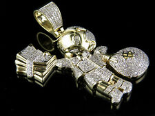 Solid 10K Yellow Gold Genuine Diamond Richie Rich Money Bag Pendant 9/10 Ct 1.8""
