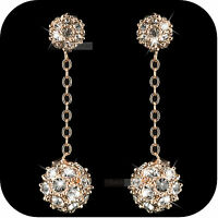 18k rose gold gp made with SWAROVSKI crystal ball stud dangle drop earrings