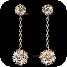 18k rose gold gp made with SWAROVSKI crystal ball stud dangle earrings