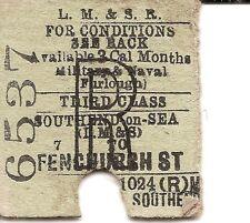 L.M.S.R. Edmondson Ticket - Southend-on-Sea (L.M.& S.) to Fenchurch Street