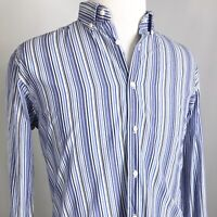 BEN SHERMAN LONG SLEEVE BLUE STRIPED BUTTON DOWN SHIRT MENS XL 17 34-35