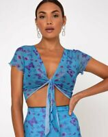 MOTEL ROCKS  Blaza Top in Mesh Butterfly Azure   Extra Small XS   (mr55)