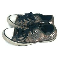 Converse All Star Sneakers Shoes Black Gold Sequins Bling Glitter Women's Size 5