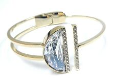 Retired Glow Crystal Bangle Size Large Gold Plate Swarovski Jewelry #5294967