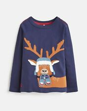 Tom Joule Neu Jungen Chomp Sweatshirt mit Applikation - Marinefarbenes Reh