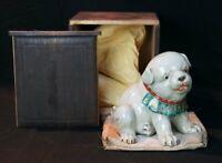 Antique puppy dog Japan Kutani ceramic sculpture 1880's kiln art