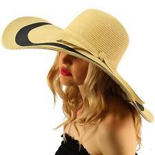 "2Tone  Floppy Super Big Wide Brim 7""+  Summer Derby Beach Dress Sun Hat Natural"