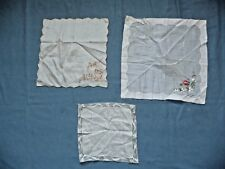 Set of 3 Vintage Antique Handkerchiefs Silk Embroidered Sweet Assorted