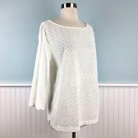 Sz XL Ann Taylor 3/4 Sleeve White Eyelet Semi Sheer Top Blouse Shirt Extra Large