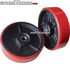 2x New Polyurethane Pallet Jack Wheels- Rear Steering Wheels + Bearings