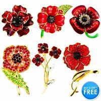 Large Red Rose Anemone Flower Broach Diamante Crystal Pin Brooch Vintage 2020 UK