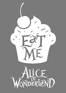 Alice in Wonderland Eat Me white Typography Decorative Vinyl Wall Decal Sticker